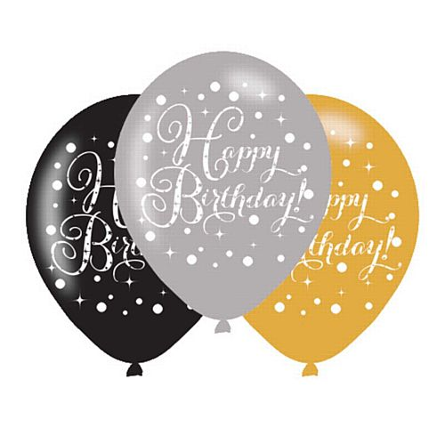 "Gold Celebration Happy Birthday Latex Balloons - 11"" - Pack of 6"