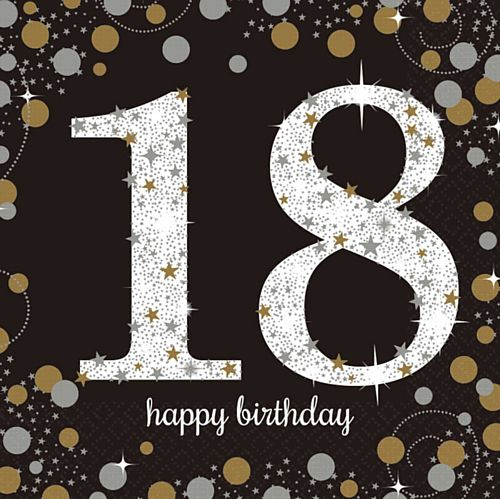 "Gold Celebration ""18th Birthday"" Luncheon Napkins - 33cm - Pack of 16"