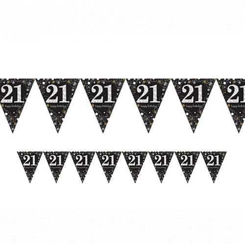 "Gold Celebration ""21st Birthday"" Prismatic Pennant Bunting - 4m"