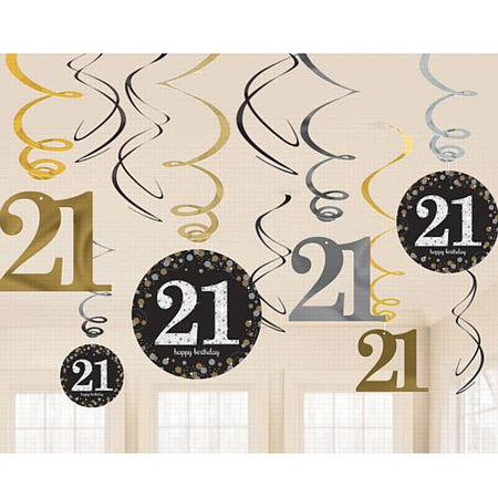 Gold Celebration 21st Hanging Swirl Decorations - 45.7cm - Pack of 12