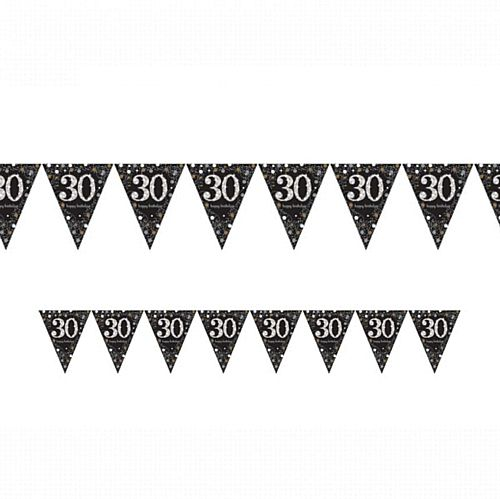 "Gold Celebration ""30th Birthday"" Prismatic Pennant Bunting - 4m"