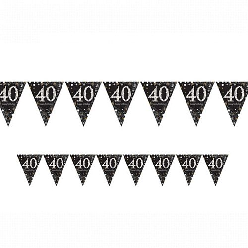 "Gold Celebration ""40th Birthday"" Prismatic Pennant Bunting - 4m"