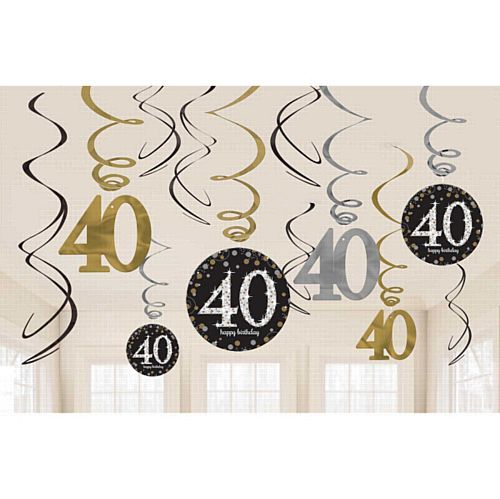 Gold Celebration 40th Hanging Swirl Decorations - 45.7cm - Pack of 12