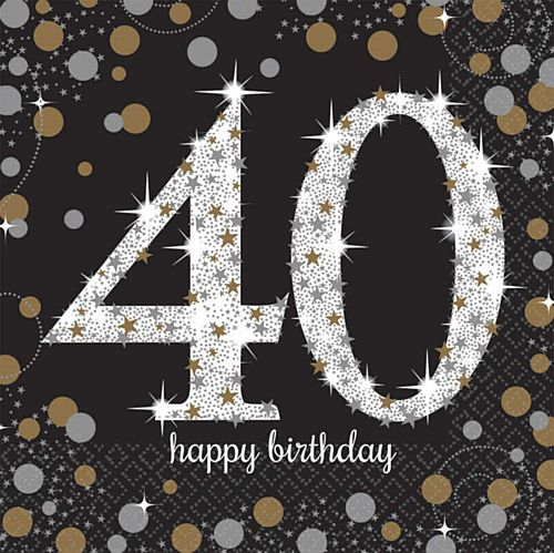 "Gold Celebration ""40th Birthday"" Luncheon Napkins - 33cm - Pack of 16"