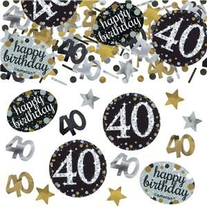 "Gold Celebration ""40th Birthday"" Confetti - 34g - Pack of 3"