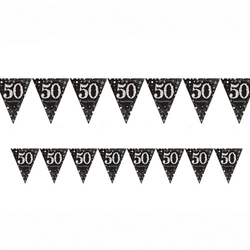 "Gold Celebration ""50th Birthday"" Prismatic Pennant Bunting - 4m"