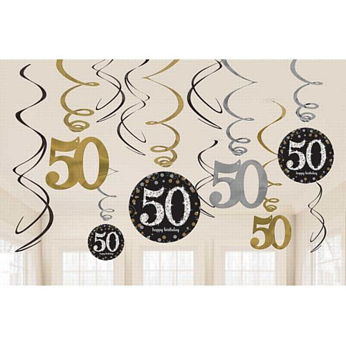 Gold Celebration 50th Hanging Swirl Decorations - 45.7cm - Pack of 12