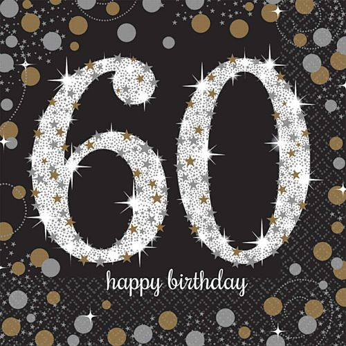 "Gold Celebration ""60th Birthday"" Luncheon Napkins - 33cm - Pack of 16"