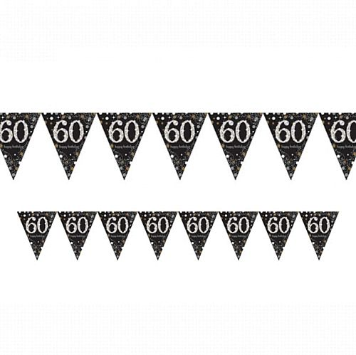 "Gold Celebration ""60th Birthday"" Prismatic Pennant Bunting - 4m"