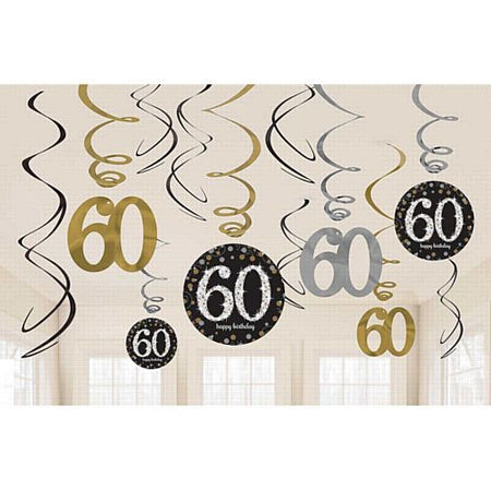 Gold Celebration 60th Hanging Swirl Decorations - 45.7cm - Pack of 12
