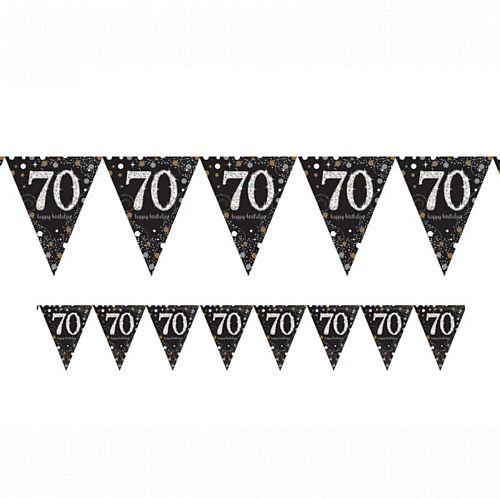 "Gold Celebration ""70th Birthday"" Prismatic Pennant Bunting - 4m"