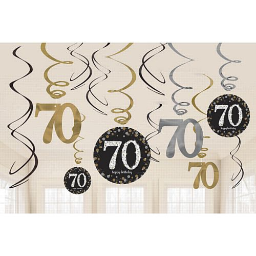 Gold Celebration 70th Hanging Swirl Decorations - 45.7cm - Pack of 12