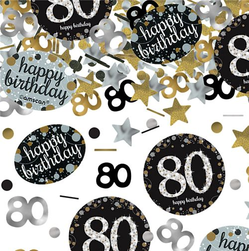 "Gold Celebration ""80th Birthday"" Confetti - 34g - Pack of 3"