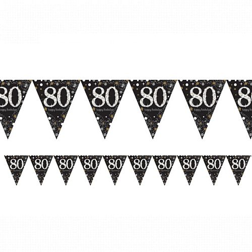 "Gold Celebration ""80th Birthday"" Prismatic Pennant Bunting - 4m"