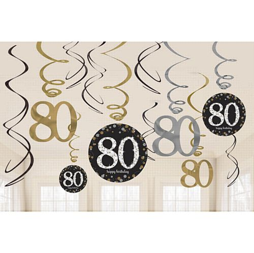 Gold Celebration 80th Hanging Swirl Decorations - 45.7cm - Pack of 12