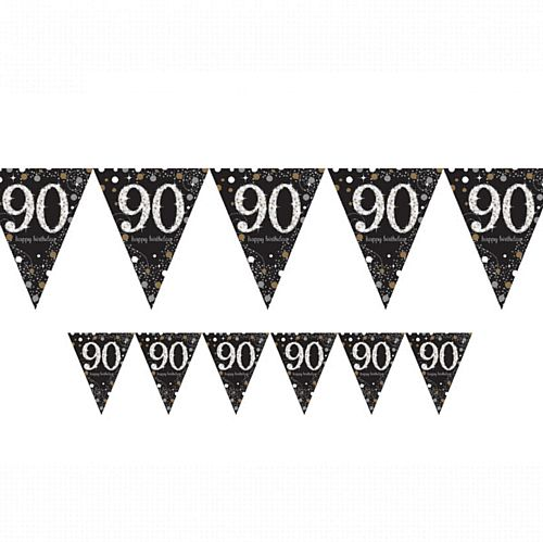 "Gold Celebration ""90th Birthday"" Prismatic Pennant Bunting - 4m"