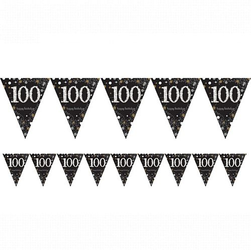 "Gold Celebration ""100th Birthday"" Prismatic Pennant Bunting - 4m"