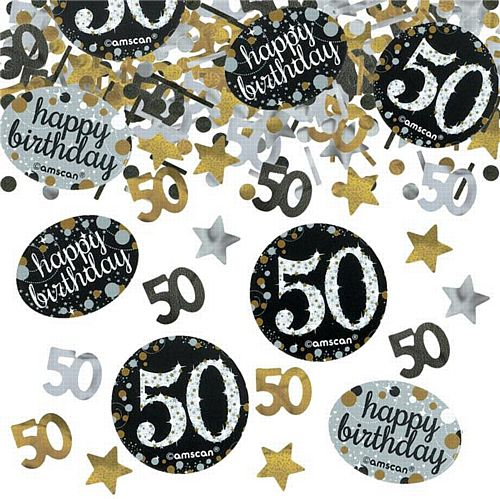 "Gold Celebration ""50th Birthday"" Confetti - 34g - Pack of 3"