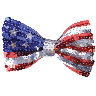 American Flag Sequin Bow Tie