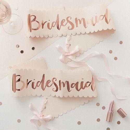 Pink & Rose Gold 'Bridesmaid' Sashes- Pack of 2