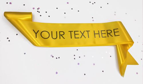 Yellow Personalised Sash- 100mm