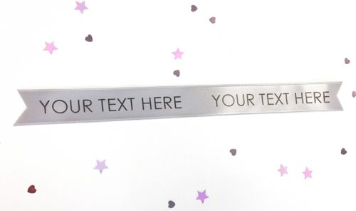 Silver Personalised Ribbon- 15mm- 1 Metre