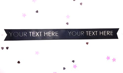 Black Personalised Ribbon- 15mm- 1 Metre