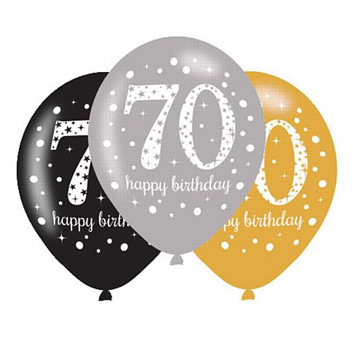 "Gold Celebration 70th Birthday Latex Balloons - 11"" - Pack of 6"