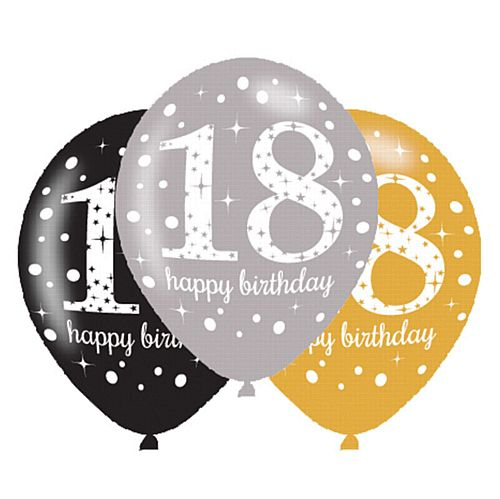 "Gold Celebration 18th Birthday Latex Balloons - 11"" - Pack of 6"