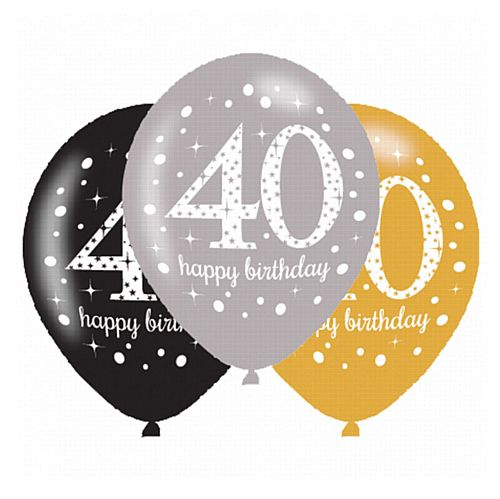 "Gold Celebration 40th Birthday Latex Balloons - 11"" - Pack of 6"