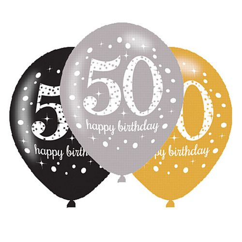 "Gold Celebration 50th Birthday Latex Balloons - 11"" - Pack of 6"