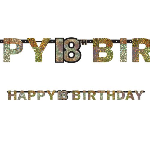 "Gold Celebration ""18th Birthday"" Prismatic Letter Banner - 2.13m"