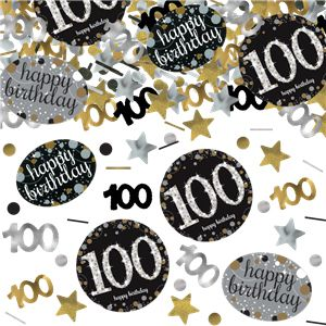 "Gold Celebration ""100th Birthday"" Confetti - 34g - Pack of 3"