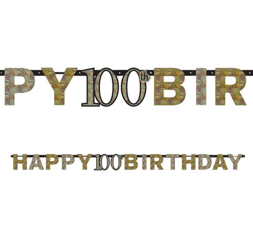 "Gold Celebration ""100th Birthday"" Prismatic Letter Banner - 2.13m"