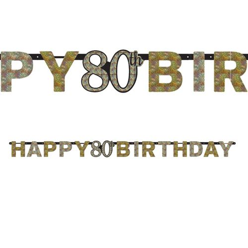 "Gold Celebration ""80th Birthday"" Prismatic Letter Banner - 2.13m"