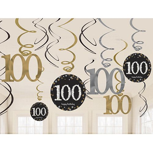 Gold Celebration 100th Hanging Swirl Decorations - 45.7cm - Pack of 12