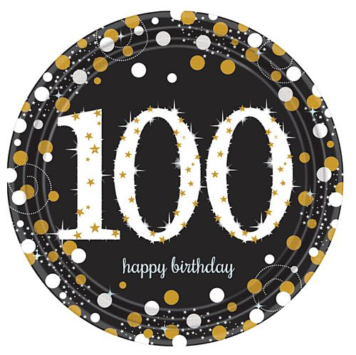 "Gold Celebration 100th Birthday 9"" Paper Plates - Pack of 8"