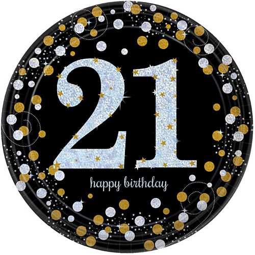 "Gold Celebration 21st Birthday 9"" Paper Plates - Pack of 8"