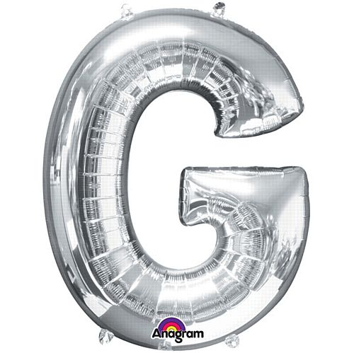 Silver Letter 'G' Air Filled Foil Balloon - 16""