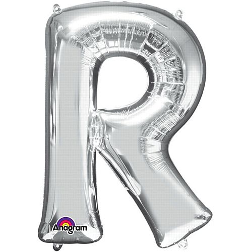 Silver Letter 'R' Air Filled Foil Balloon - 16""