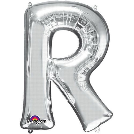 Silver Letter 'R' Air Filled Foil Balloon - 16
