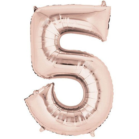 Rose Gold Number 5 Foil Balloon- 34