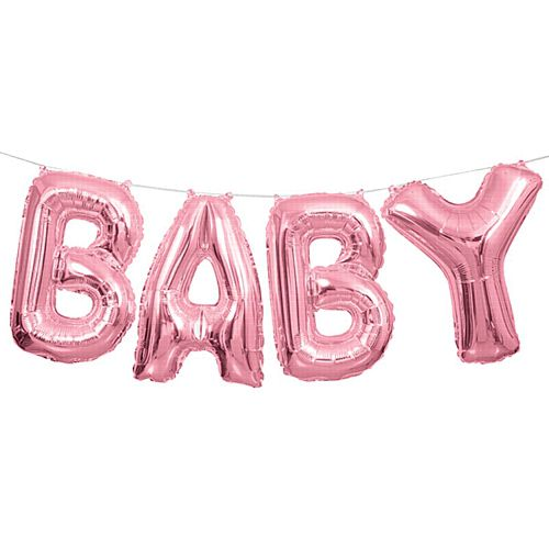 Pink 'Baby' Balloon Letter Banner Kit - 14""