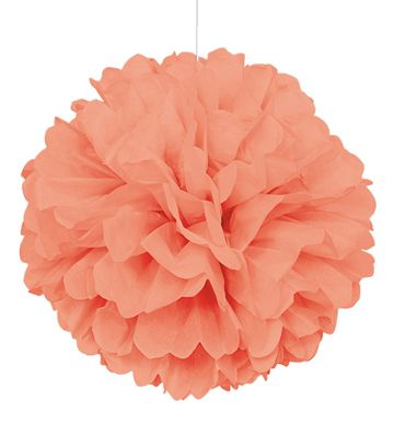 Coral Pom Pom Value Tissue Decoration - 40cm