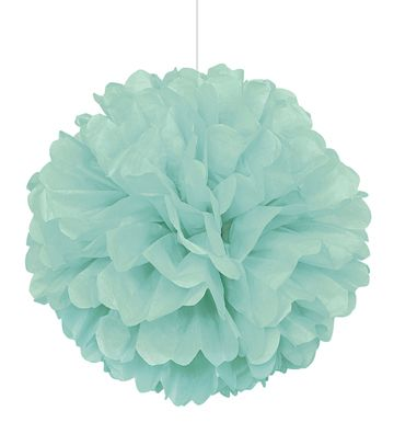 Pastel Mint Green Pom Pom Value Tissue Decoration - 40cm