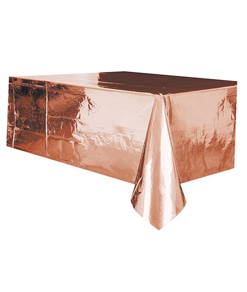 Rose Gold Foil Plastic Tablecloth - 2.75m