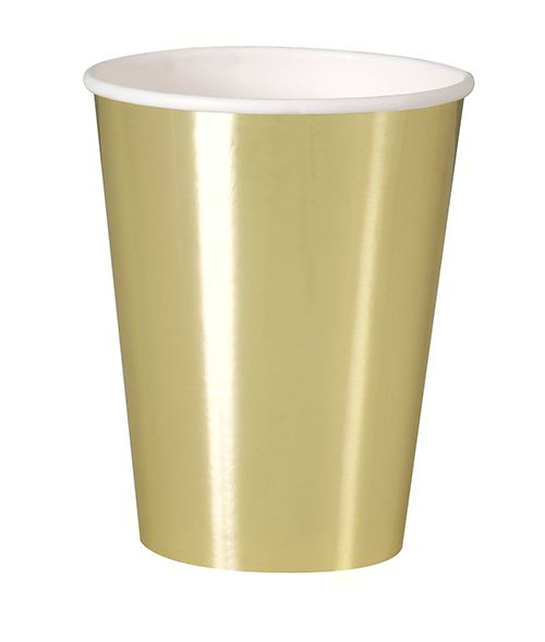 Metallic Gold Paper 12oz Cups- Pack of 8