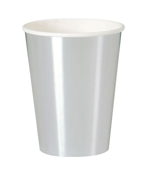 Metallic Silver Paper 12oz Cups- Pack of 8