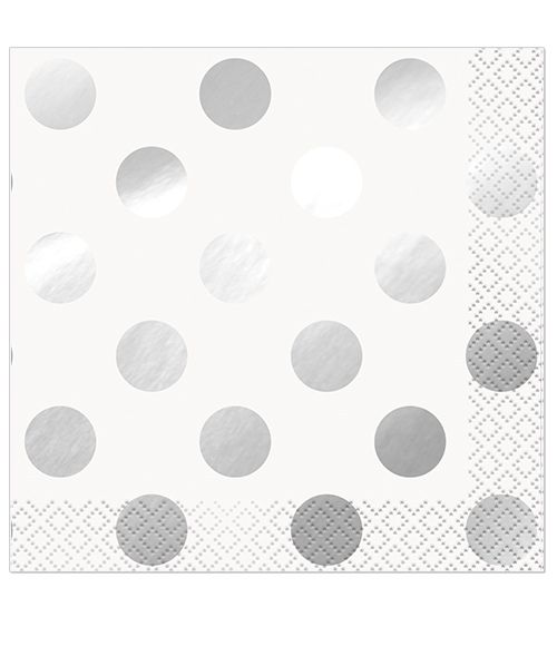 Silver Metallic Dots Beverage Napkins- Pack 16