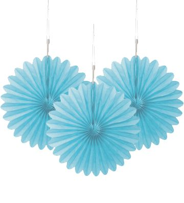 Pastel Blue Decorative Tissue Fans - 15.2cm - Pack of 3